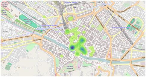 Figura 2. Aree a maggiore densità tweet – Quartiere 1