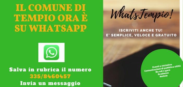 Il Comune di Tempio Pausania comunica con i cittadini via WhatsApp