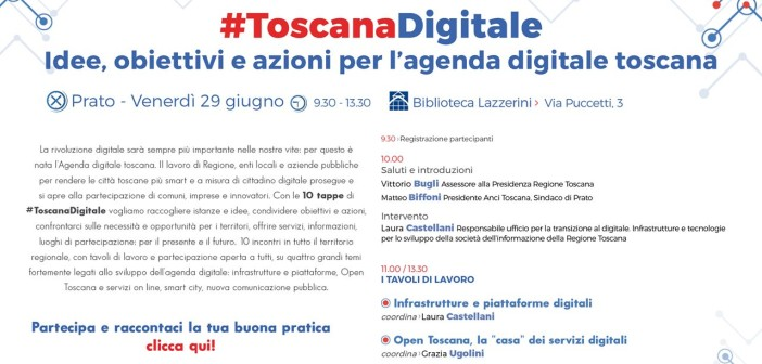 Il 29 giugno a Prato la seconda tappa di #ToscanaDigitale