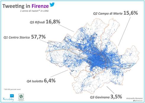 Figura 1. Distribuzione territoriale dei tweet