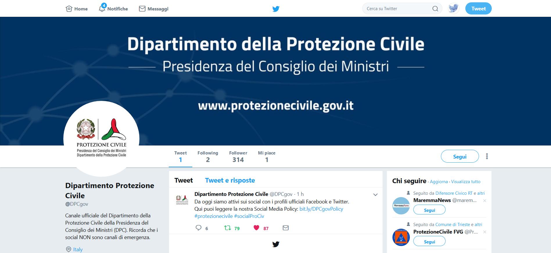 il dipartimento della protezione civile su facebook e twitter