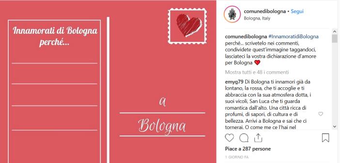 Con #InnamoratidiBologna il Comune invita gli utenti dei social a lasciare la loro dichiarazione d'amore alla città