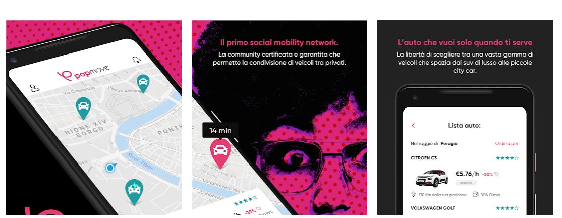 Il car sharing elettrico arriva a Perugia, prenotazioni attraverso l'app Popmove