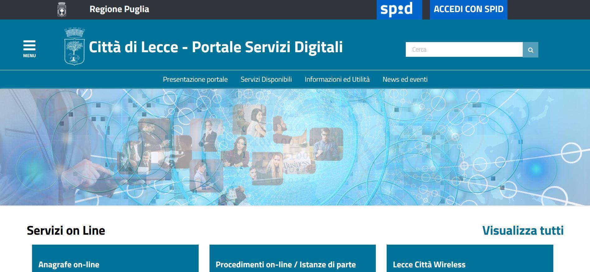 Arriva il portale dei servizi del Comune di Lecce