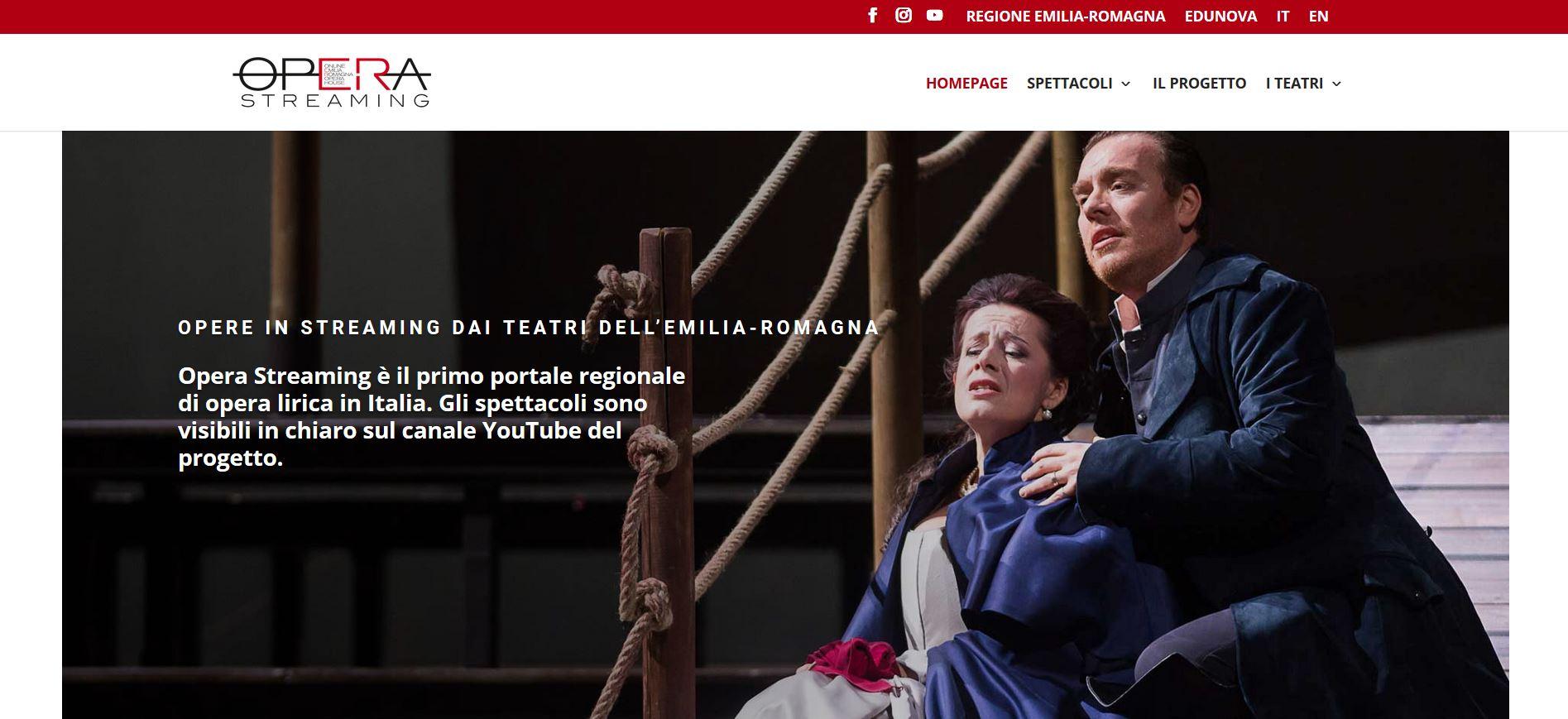 Nasce OperaStreaming, palco virtuale delle opere in scena nei teatri dell'Emilia Romagna