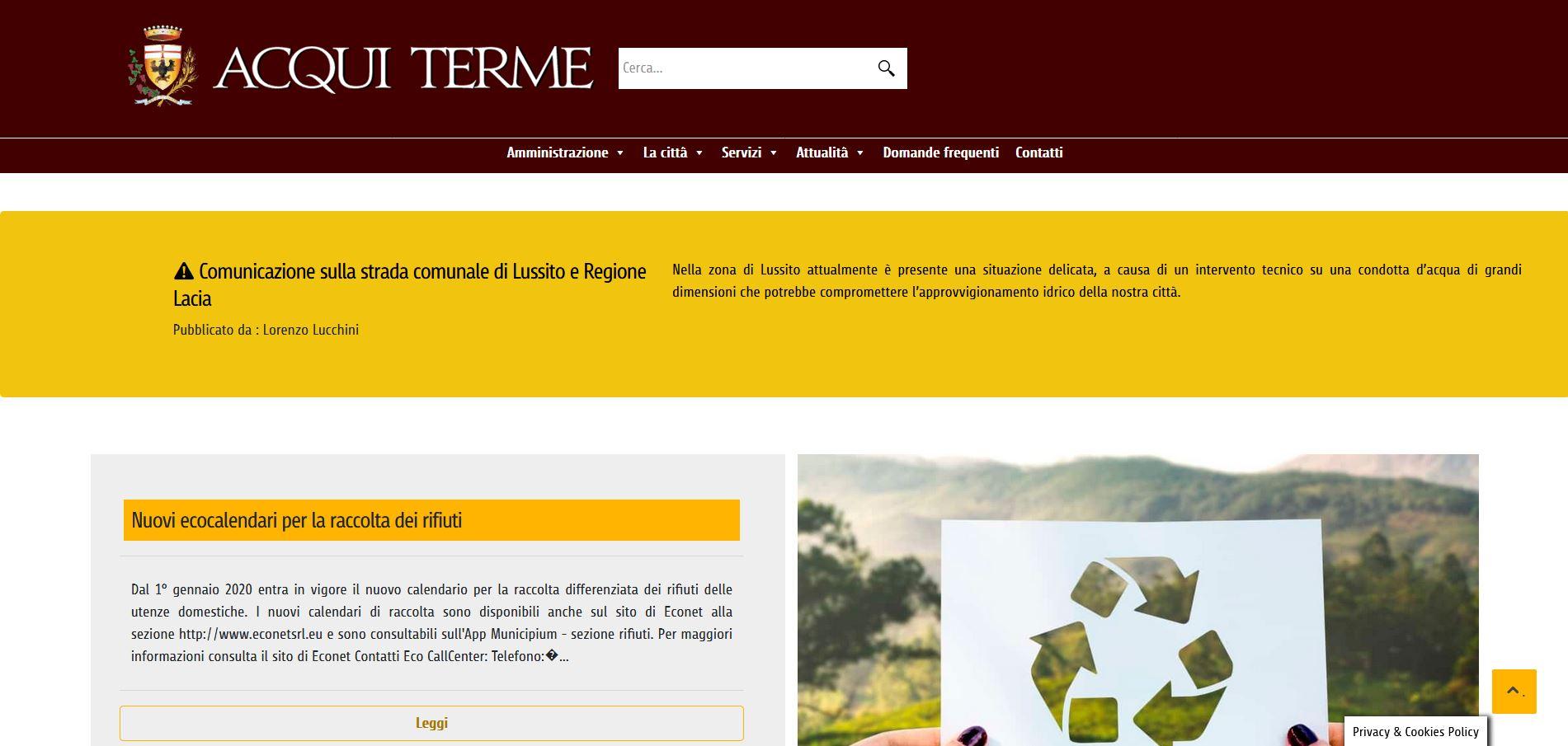 Online il nuovo portale del Comune di Acqui Terme
