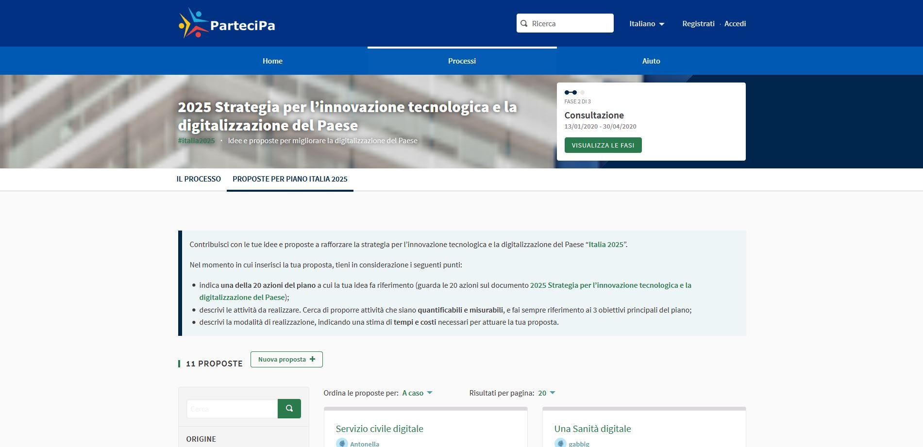 Italia 2025, sulla piattaforma ParteciPA è in corso la consultazione pubblica della strategia del Ministero per l'innovazione e la trasformazione digitale