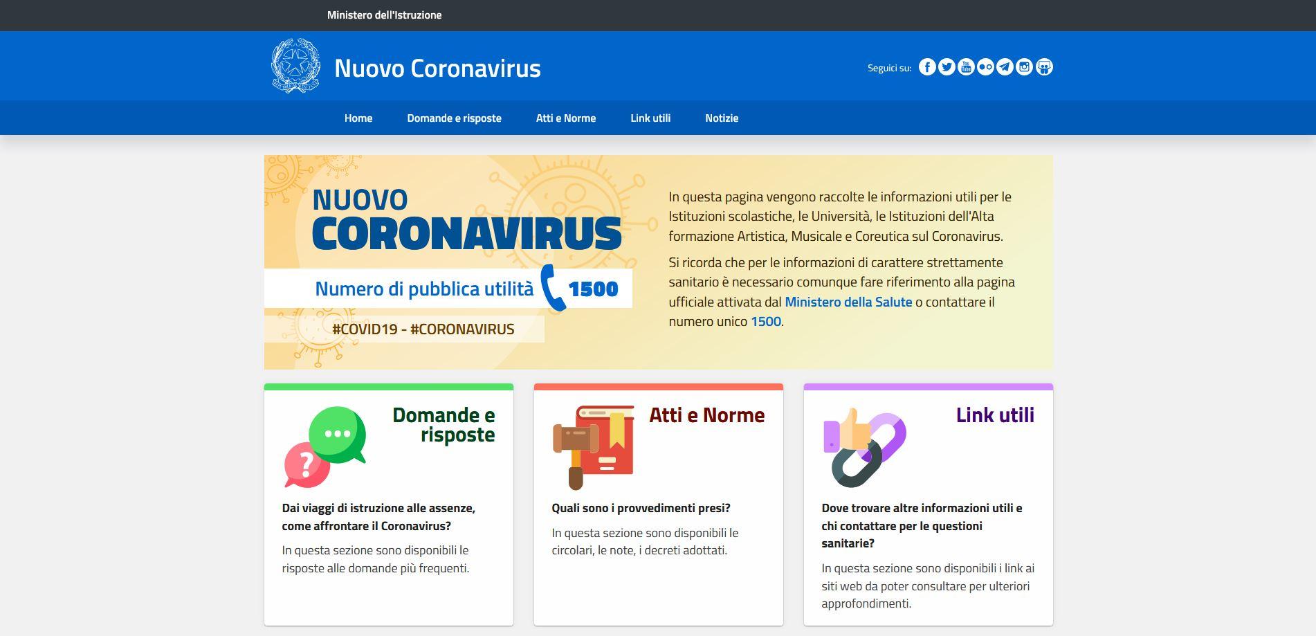 Risultato immagini per logo miur coronavirus