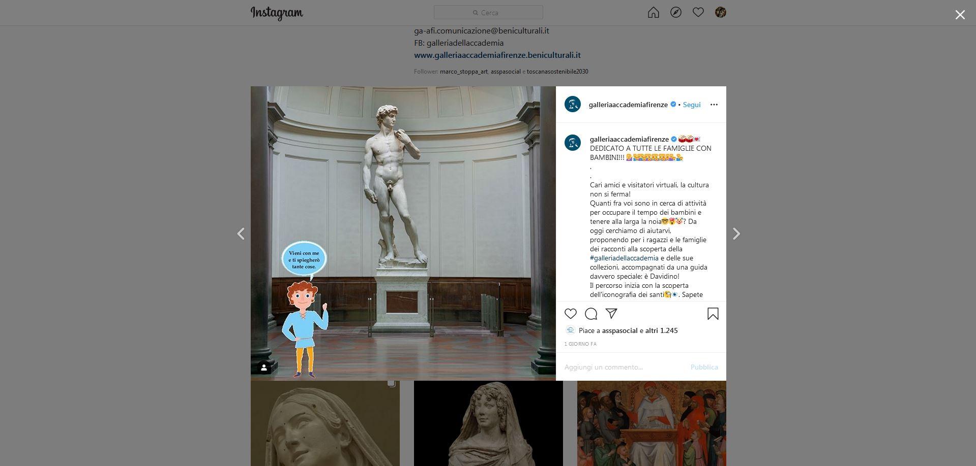 Sui social della Galleria dell'Accademia di Firenze arriva Davidino, guida virtuale con cui scoprire le collezioni