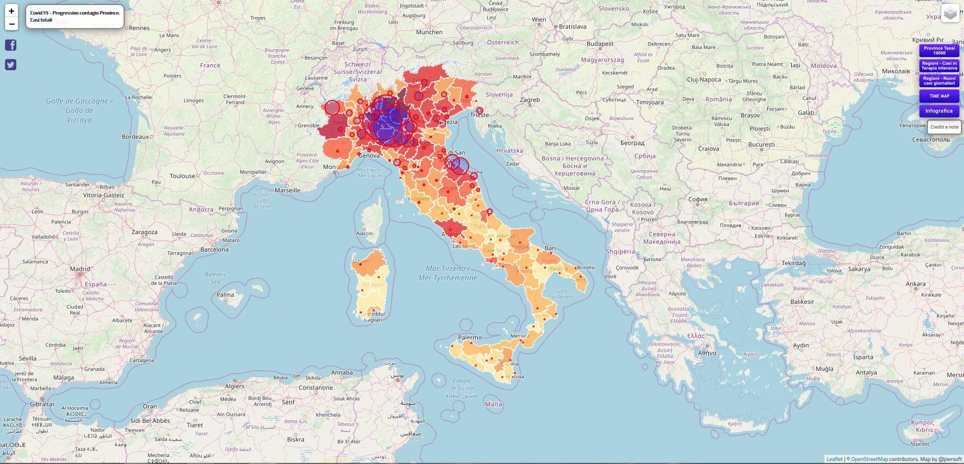 La diffusione del Covid-19 mappata utilizzando gli open data della Protezione civile