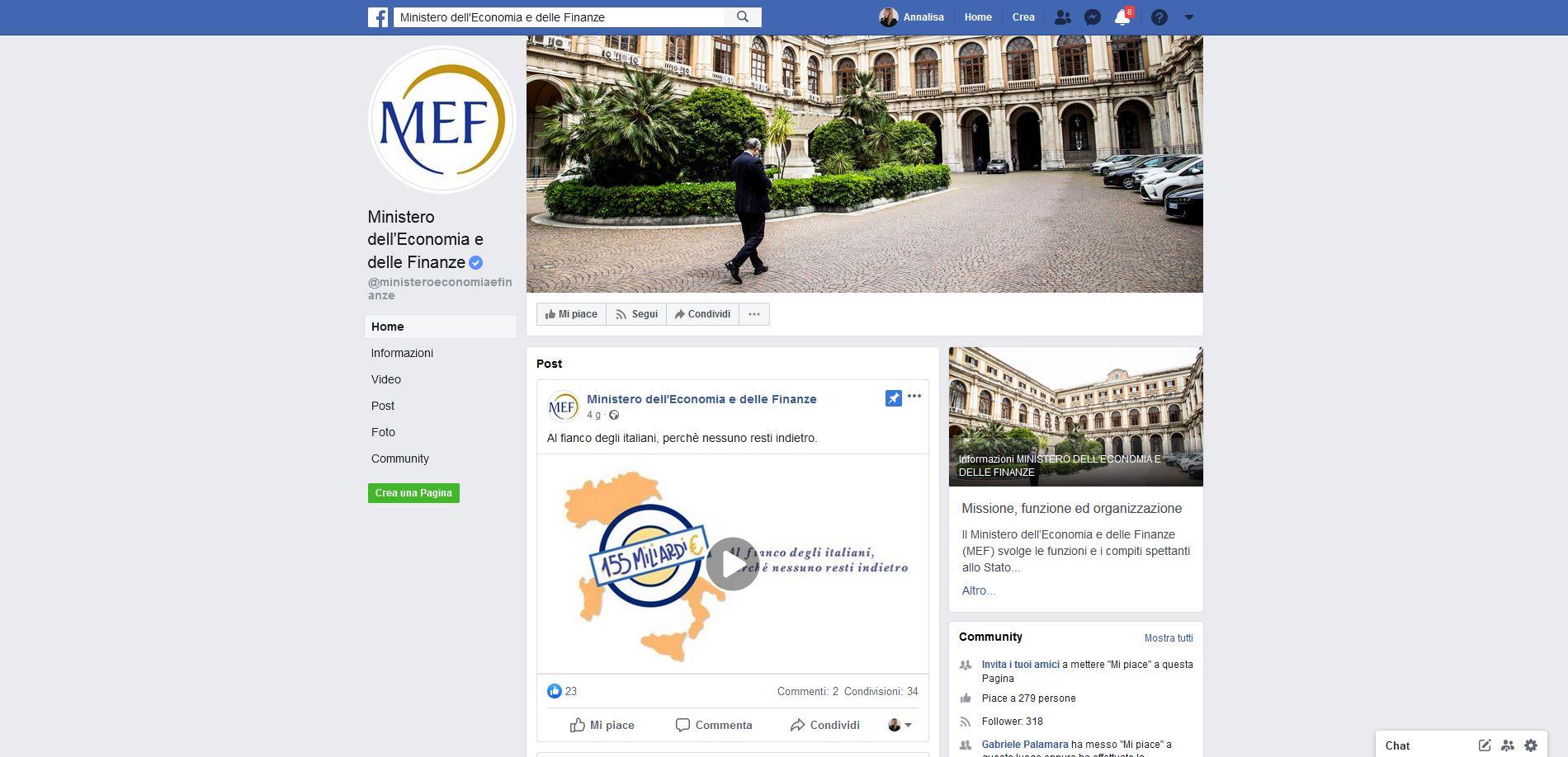 Il Ministero dell'Economia e delle Finanze approda su Facebook