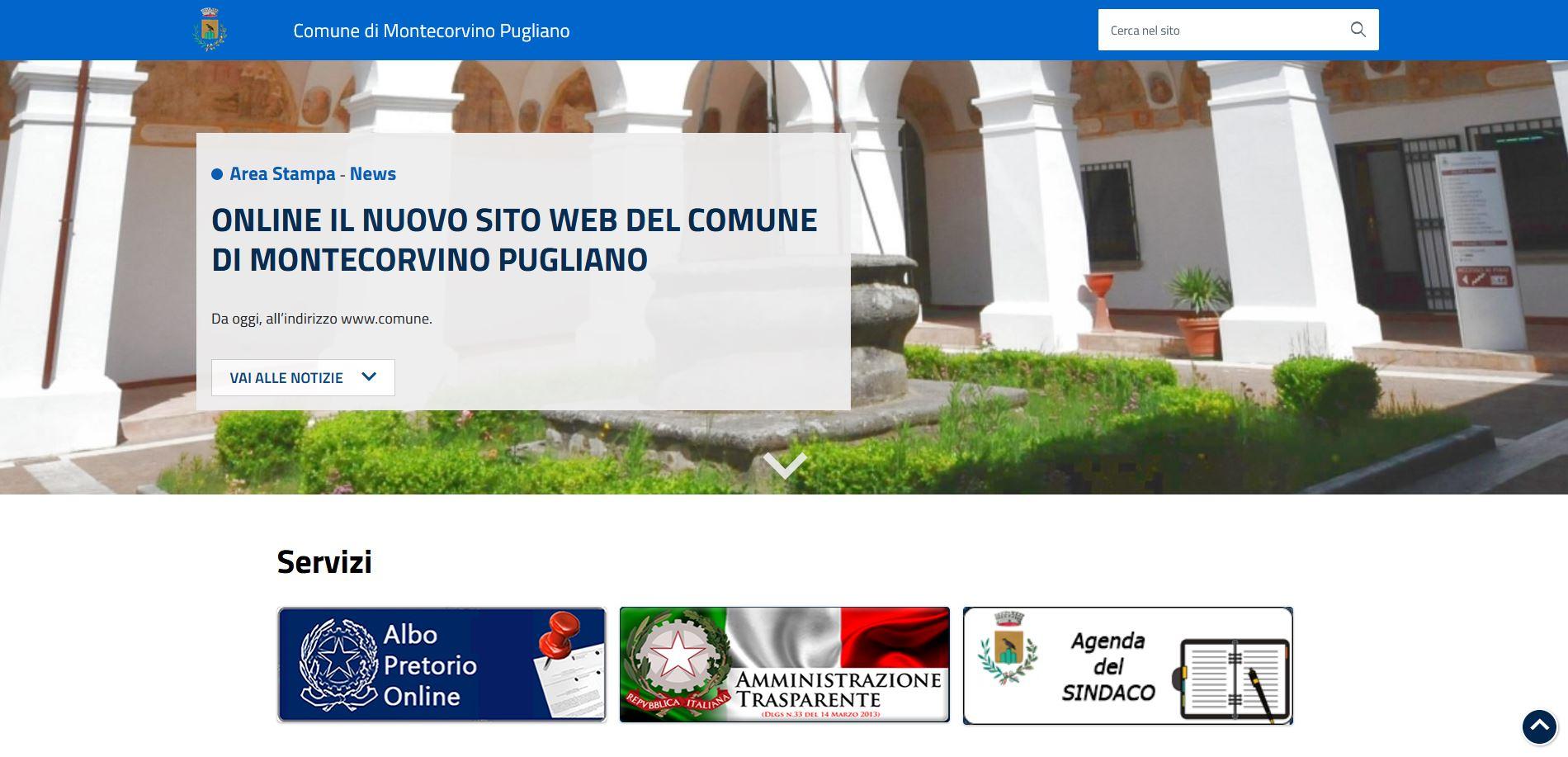 Online il nuovo sito web del Comune di Montecorvino Pugliano