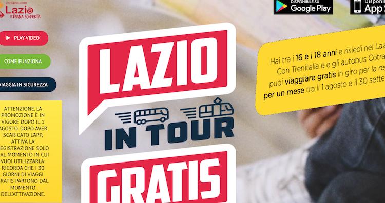 """""""Lazio in tour"""": la app che permette ai giovani dai 16 ai 18 anni di viaggiare gratuitamente"""