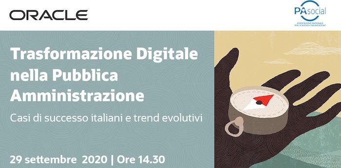 Le trasformazioni digitali nella PA: evento via web Oracle e PA Social martedì 29 settembre