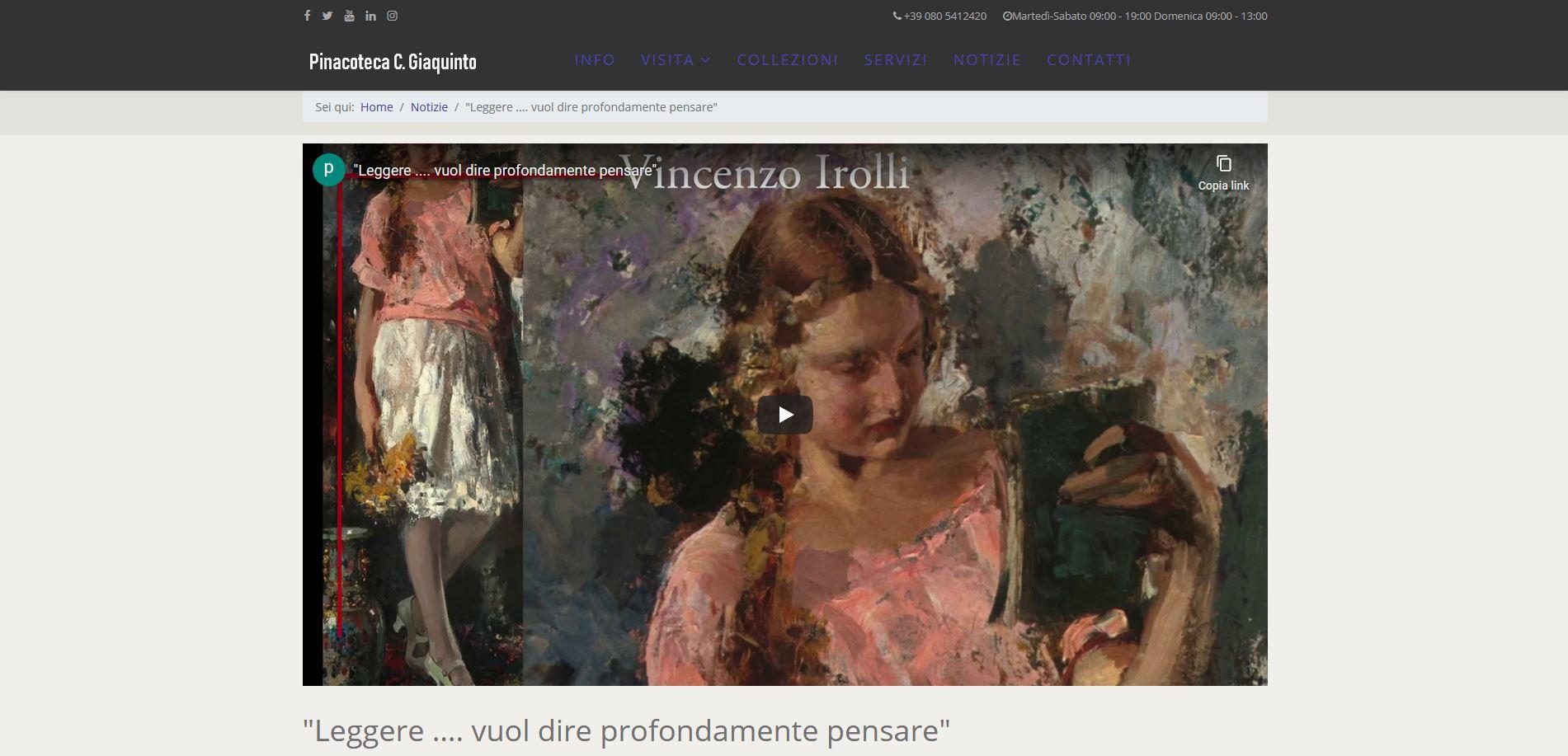 Per le Giornate europee del patrimonio, la Pinacoteca metropolitana di Bari propone su web e social un video sulla lettura