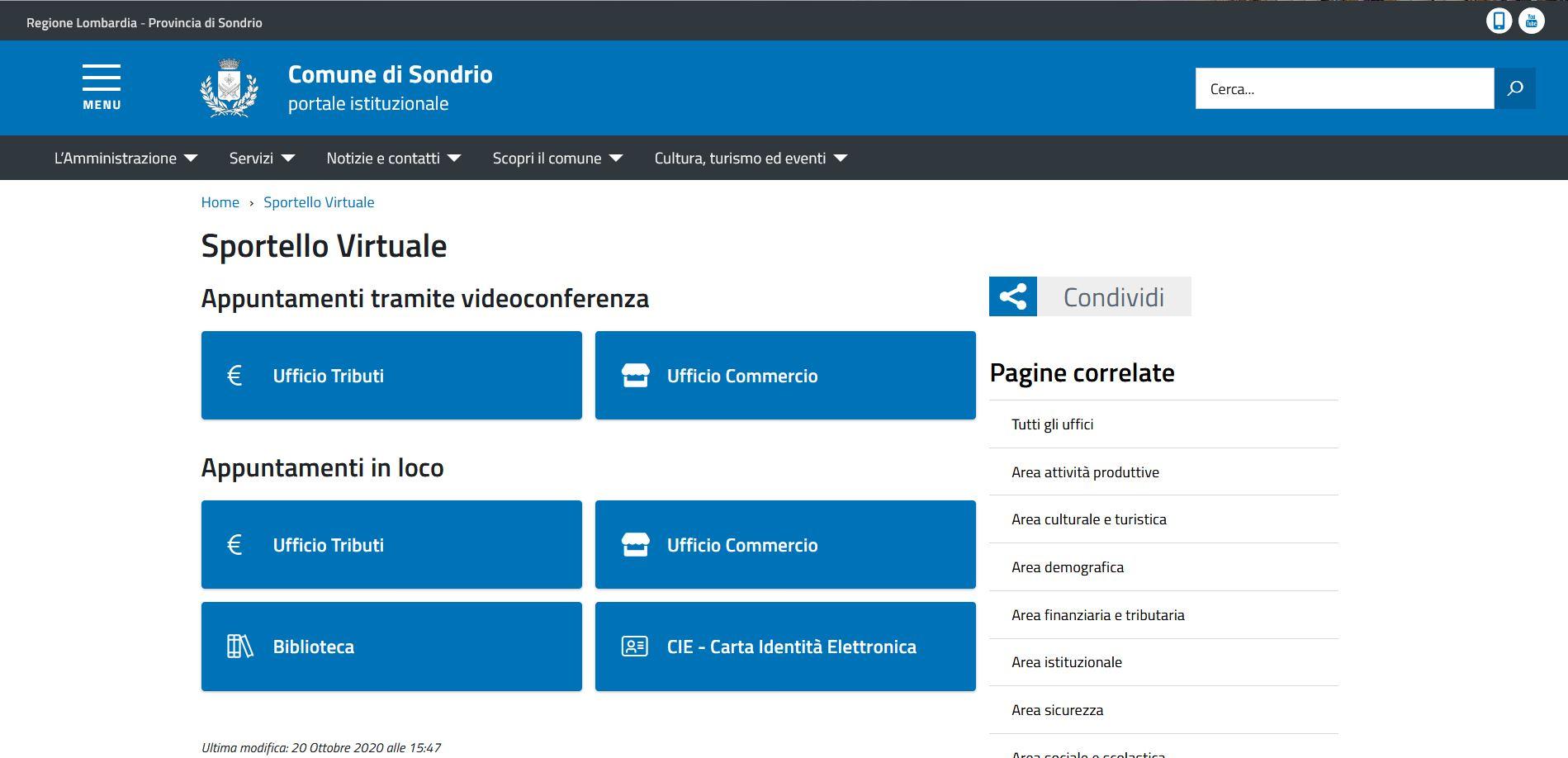 """Il Comune di Sondrio lancia lo """"Sportello virtuale"""" per prenotare un appuntamento negli uffici comunali o una postazione studio in biblioteca"""