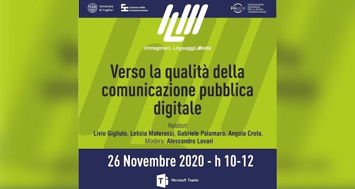 La qualità della comunicazione pubblica digitale: se ne parla domani in un seminario on line organizzato dall'Università di Cagliari in collaborazione con PA Social